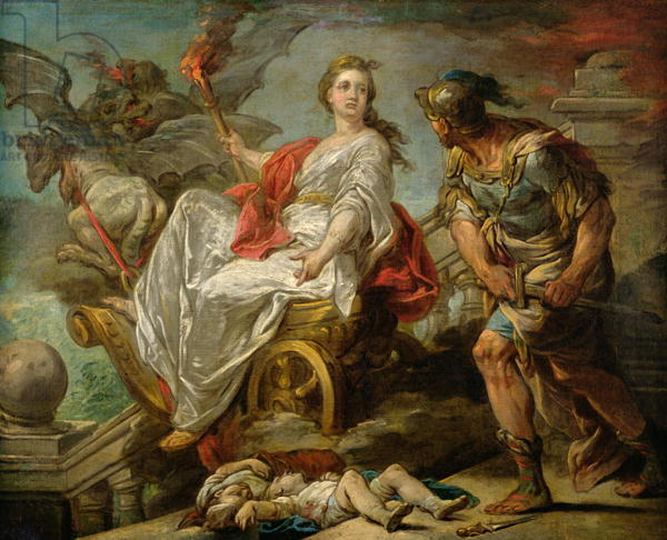 XIR182676 Jason and Medea, 1759 (oil on canvas) by Loo, Carle van (1705-65); 63x79 cm; Musee des Beaux-Arts, Pau, France; (add.info.: murdered her own children when Jason left her;); Giraudon; French,  out of copyright